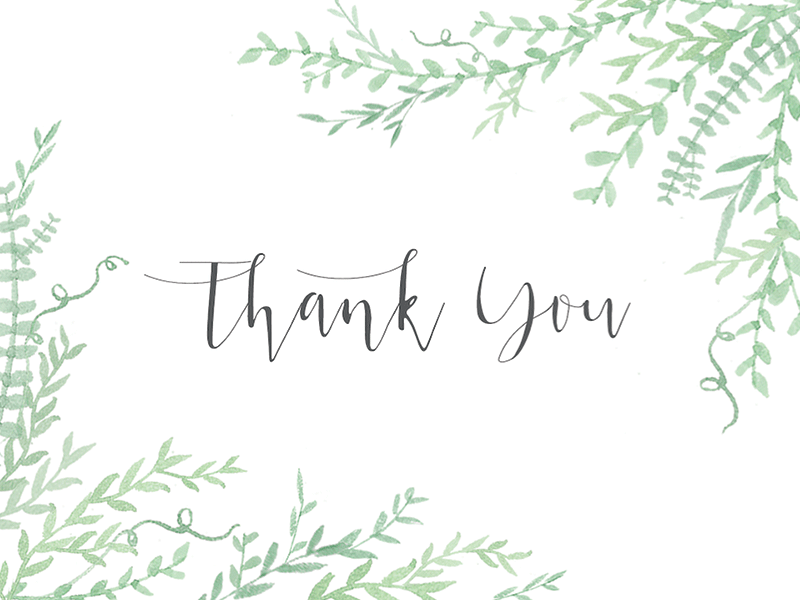 Thank You whimsical watercolor greenery thank you card