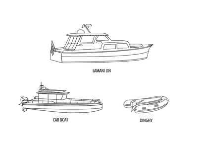 The Commodore's Fleet line drawing boat illustration