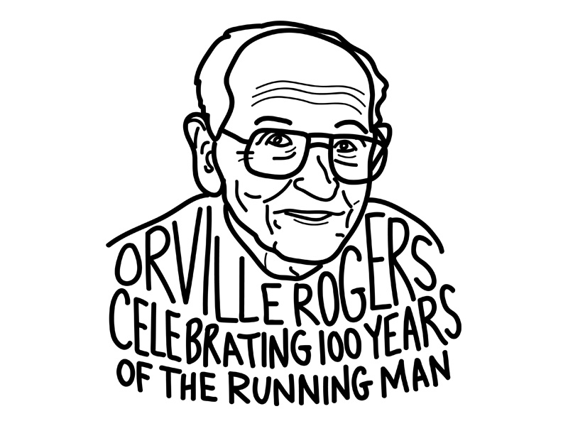 Orville Rogers, 100 years of the running man birthday illustration