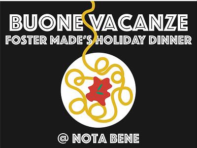 Holiday Dinner Invite holiday italian spaghetti illustration invitation