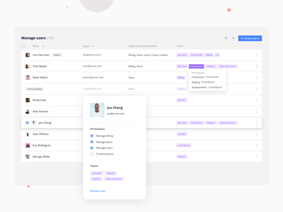 Manage users webapp light product teams table users app clean ux ui