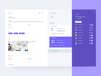 Event management colour ui ux clean details scheduling users attendees createevent product webapp app event events