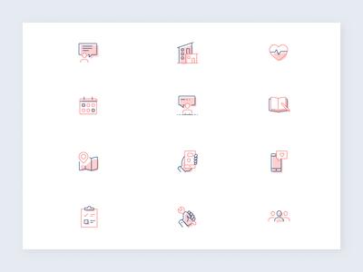 simple spot illustrations maintenance checklist mobile map calendar health feedback icon set spot illustrations spot illustrations icons