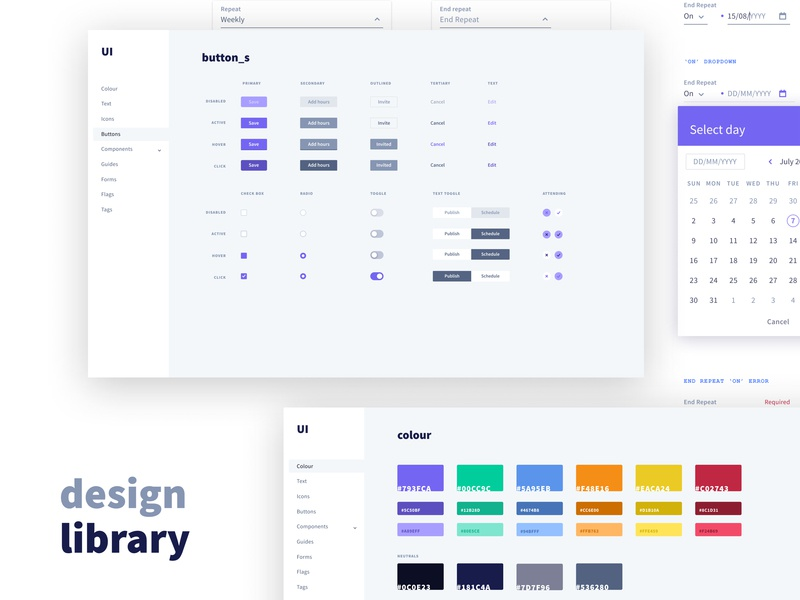 Design Library calendar date picker forms library design colours controls buttons ux style guide ui