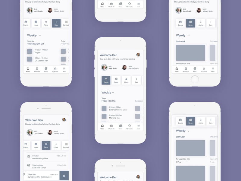 Mobile home page wireframes buttons clean ui ux calendar tabs alerts news events whats on agenda home app mobile wireframes