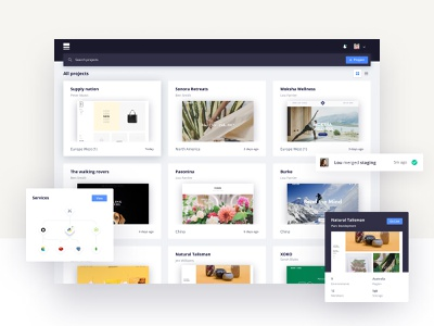 Project dashboard floating hover light activity header nav project tree dashboard image cards clean ux ui
