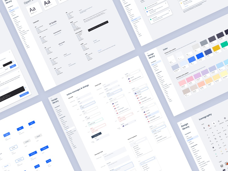Ui Guide design system buttons fields forms type colour library guide clean ux ui