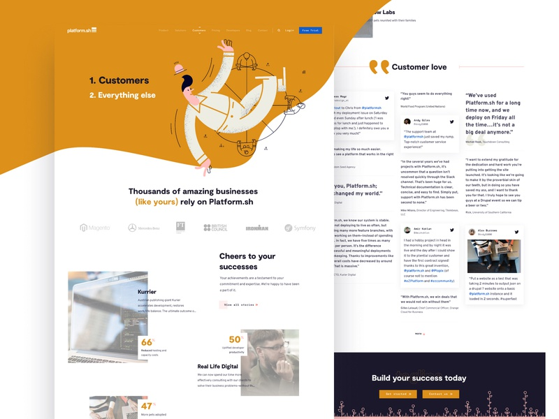 Our Customers - web feed customers overlay clean colour illustration website