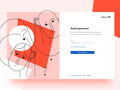 When product + illustration meet, the magic happens confused shapes colour bold app ui onboarding reset password illustration