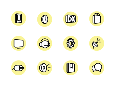Icons for LG WebOS smart TV monoline vector icons