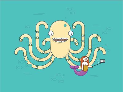 Mermaid taking a selfie with octopus  selfie mermaid octopus vector illustration