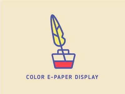 E-paper display icon vector feather ink e-paper logo icon
