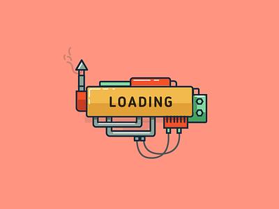 Loading screen machine illustration vector loading