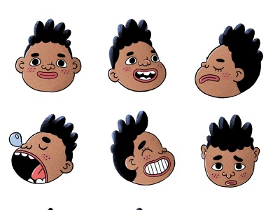Boy afro facial expressions face faces expresions expression boy procreate cute characterdesign character cartoon character illustration illustrator cartoon illustration cartoon 2d