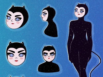 Creature of the night stars night cat girl procreate cute characterdesign character cartoon character illustration illustrator cartoon illustration cartoon 2d