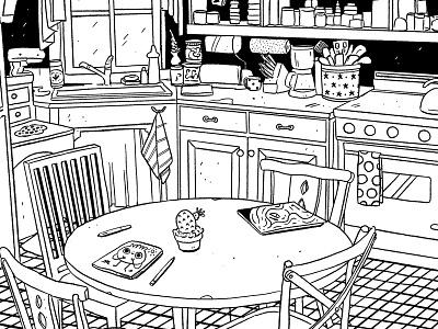 Kitchen comic background interior table kitchen procreate cute illustration cartoon character illustrator cartoon illustration cartoon 2d