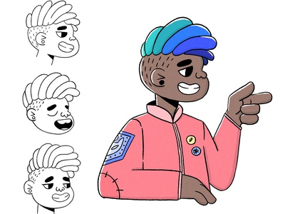 Hey, how you doin? faces expression black boy procreate cute characterdesign character cartoon character illustration illustrator cartoon illustration cartoon 2d
