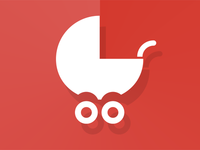 Baby Stroller icon design material flat baby stroller