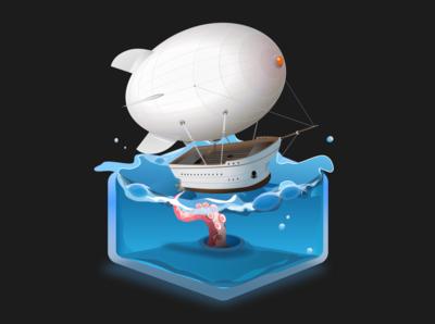 zeplin octopus airship sketch