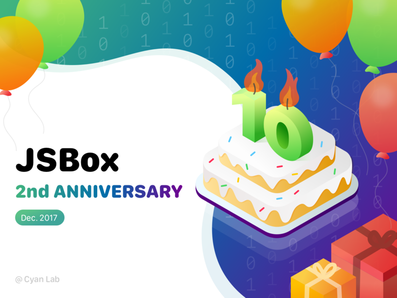 Happy birthday to JSBox branding illustration