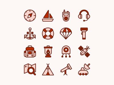Adventure Equipment Icon Set