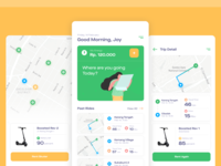App - Sewa Skuter tracking wallet bike scooter rent navigation interface app dashboard onboarding illustration ios ui