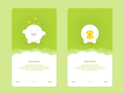 Onboarding - Save Penny  money interface ios android illustration penny coin app ui clean icon onboarding