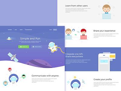 Landing Page - Social App website ui social onboarding messaging landingpage ios illustration group community chat ai