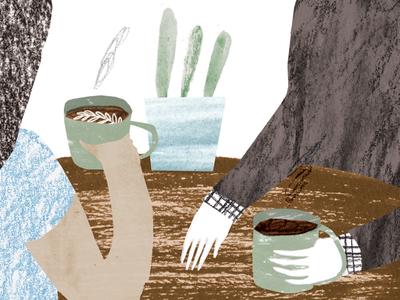Coffee illustration photoshop textures pencil crayon