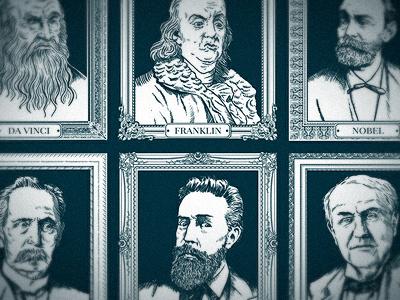 Wall Of Inventors vector people portrait illustrator