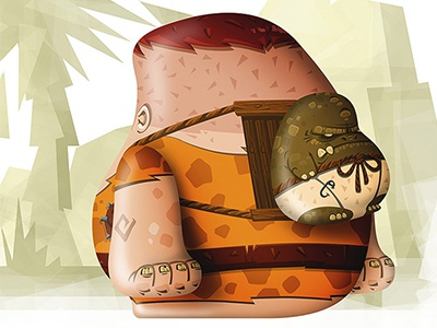 Stone Age Dude Back illustration photoshop stone age concept art digital art