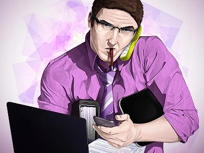 Big in Business illustration face expression business digital art