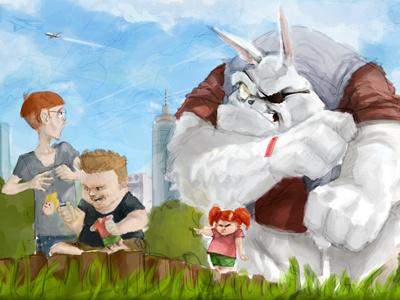 Payback-Bunny in progress illustration photoshop digital art work in progress