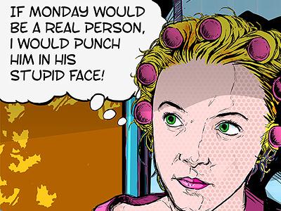 Monday grouch illustration photoshop lichtenstein monday grouch