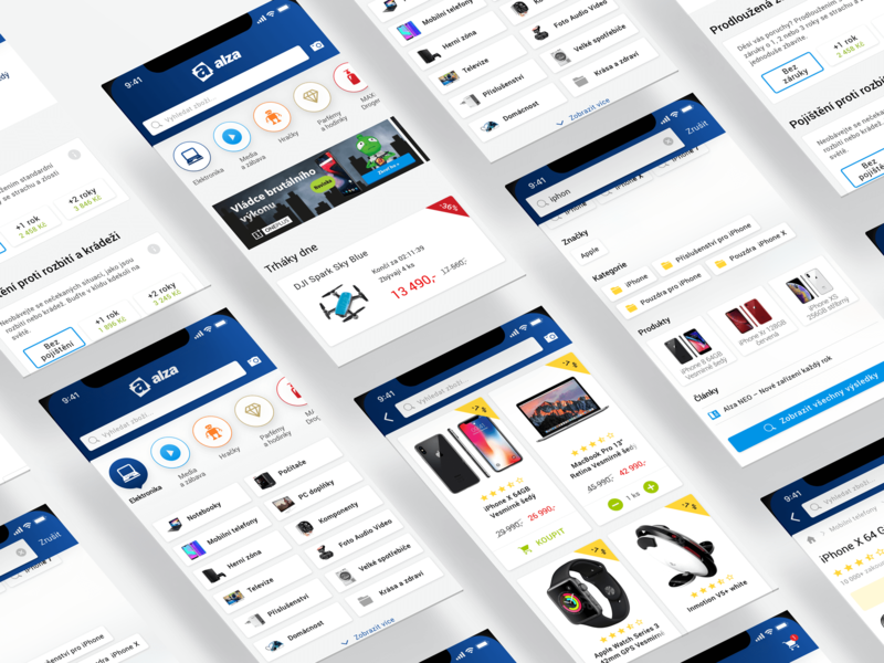 Alza - previews from the new app ecommerce eshop ui design ux design ios apps design