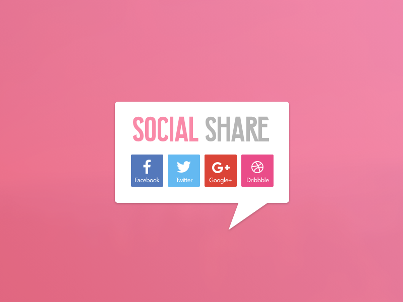 Social Share social networks icons share buttons dribbble googleplus twitter facebook