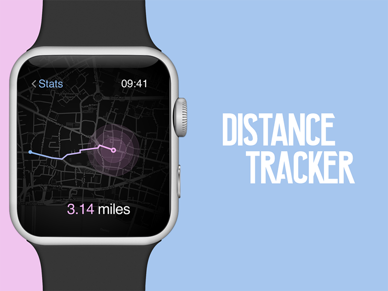Tracker App for Apple Watch user interface user experience tracker app ux distance sketch location apple iwatch design dailyui
