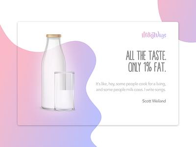Milk Company Banner Example bottle gradient ads ux ui white milk pink purple sketch banner design