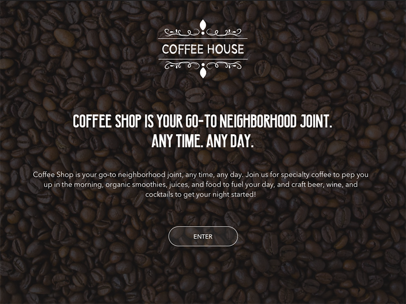 Coffee Shop Landing Page white black user interface user experience enter sketch design web landing shop house coffee
