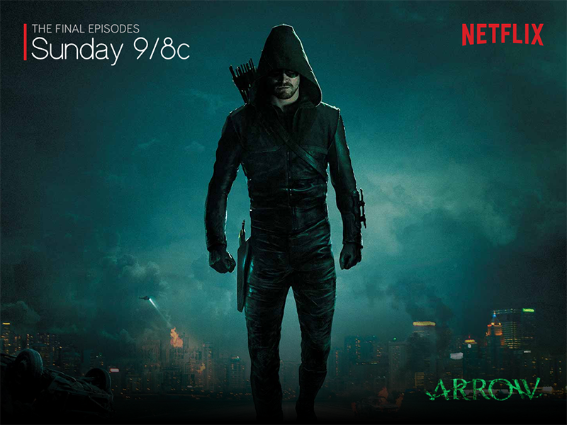 Arrow Final Episodes banner motion green oliver queen announcement netflix dc series poster movie arrow