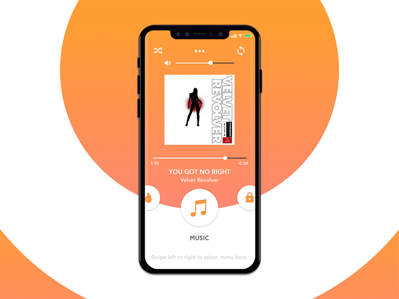 Smart Home App - Music Players sound gradient orange velvet revolver player app smart home music ux ui