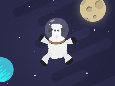 Space Sheep sheep space creative simple color inspiration logo flat design