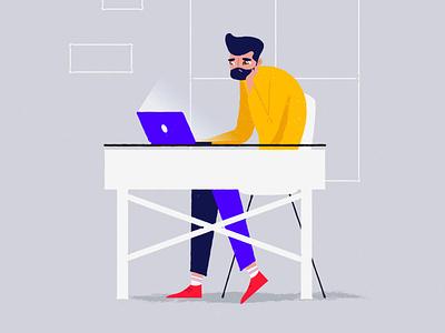 Lack of inspiration flatdesign characters blue inspirational working inspiration