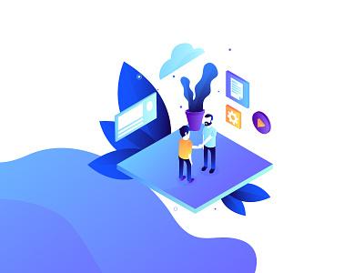 Innovation series - customer interface isometric characters blue gradient purple technology innovation illustration