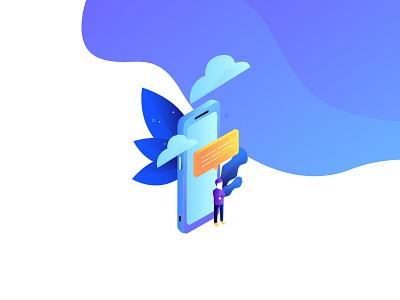 Innovation series - creative FAQ question faq isometric characters blue gradient purple technology innovation illustration