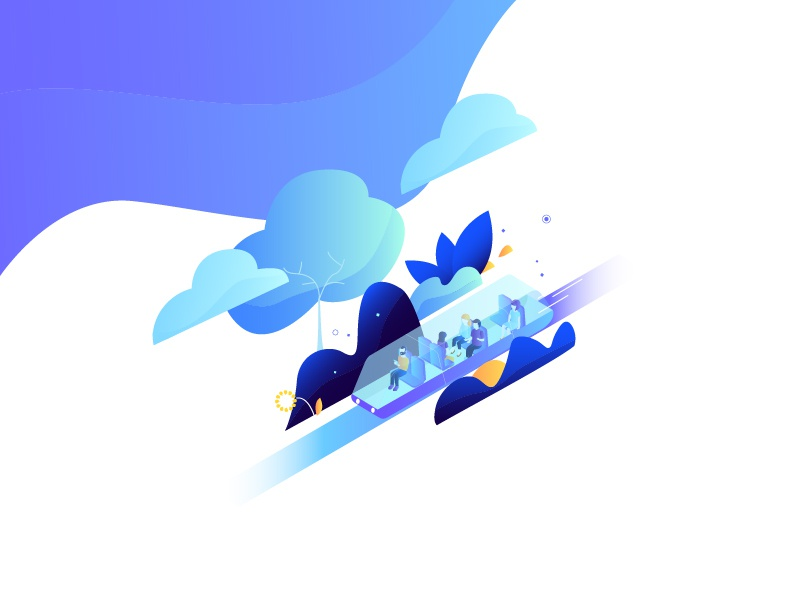 Innovation serie - agency creation cloud agency isometric characters blue gradient purple technology innovation illustration