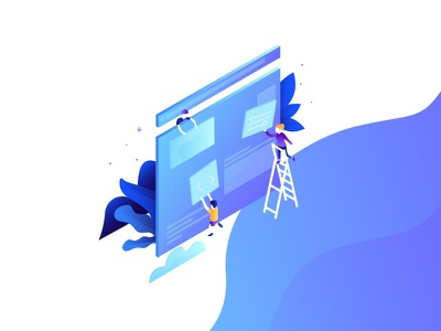 Innovation serie - product product design website isometric characters blue gradient purple technology innovation illustration