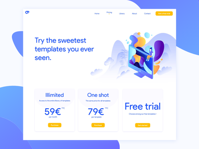 Sweet templates pricing card interface pricing trial blue illustration ux ui design