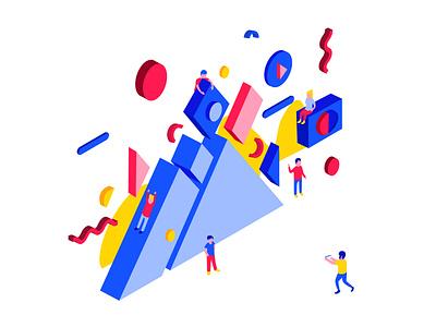 Geometric festival primary geometric innovation agency ui isometric characters technology illustration blue
