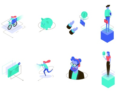 Funky real estate illustrations neon green blue purple gradient ui real estate flashy funky isometric technology illustration